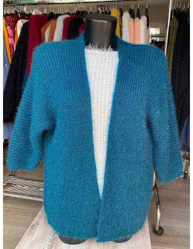 Gilet tricot en maille à grosse côte femme par Coton Marine 34,90€