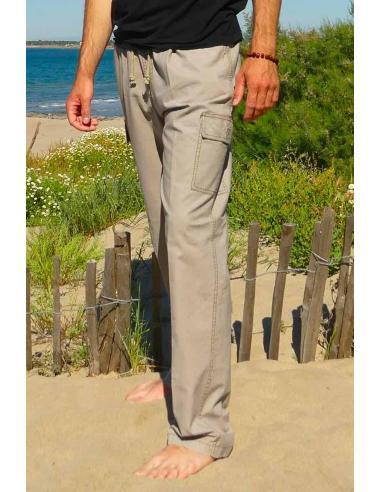 Pantalon en coton homme beige