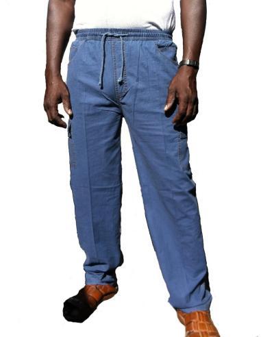 Coton Marine HOMME PANTALON pour Homme en Coton Bleu