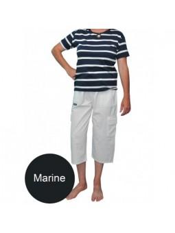 Coton Marine FEMME PANTACOURT FEMME MARINE POCHES CARGO