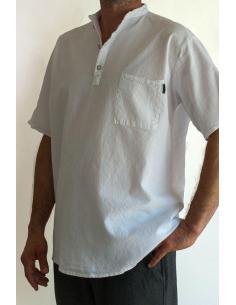 CHEMISE HOMME BLANCHE COTON, Col Mao par Coton Marine 26,90€