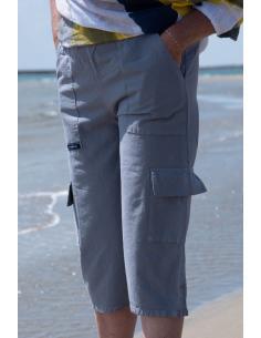 PANTACOURT FEMME GRIS POCHES CARGO par Coton Marine 23,95€