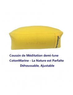 Coton Marine Coussins de méditation Coussin zafu de Méditation demi-lune Cotonmarine déhoussable. garnis de petit épeautre, C...