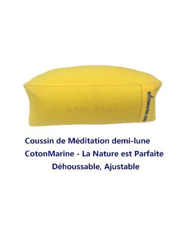 Coussin zafu de Méditation demi-lune Cotonmarine déhoussable. garnis de petit épeautre, Coton 100 % par Coton Marine 45,00€