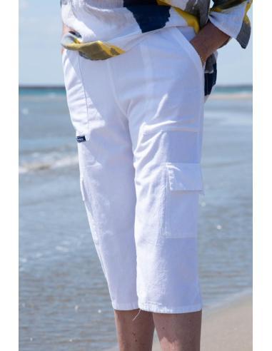 PANTACOURT FEMME BLANC POCHES CARGO par Coton Marine 23,95€