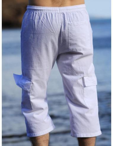 PANTACOURT HOMME BLANC POCHES CARGO par Coton Marine 23,95€