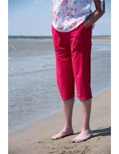 PANTACOURT FEMME FRAMBOISE POCHES CARGO par Coton Marine 23,95€